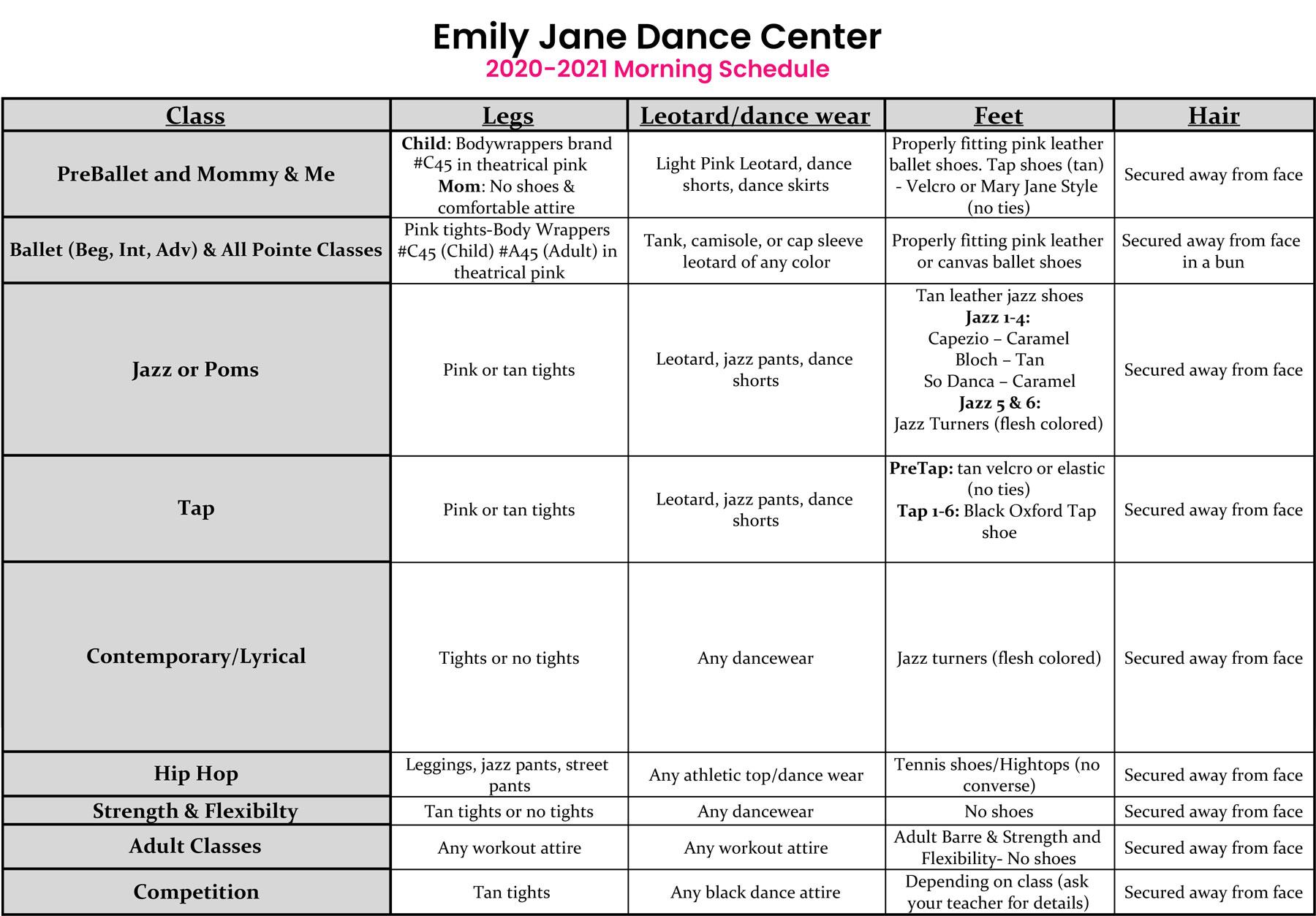 Dress code for dance studio classes in St. Louis
